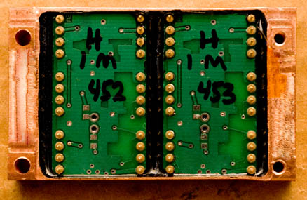 Seta preamplifier's hybrid, video - bandwidth amplifier modules are electronically and acoustically isolated and kept at a stable operating temperature and environment (constant humidity) by enclosing and sealing them in a block machined from a solid piece of oxygen-free high conductivity copper. Each module is carefully tested and characterized before and after being hermetically sealed in the copper block.